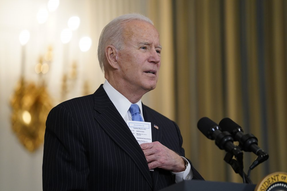 President Biden speaks at the White House on Tuesday about efforts to combat COVID-19.