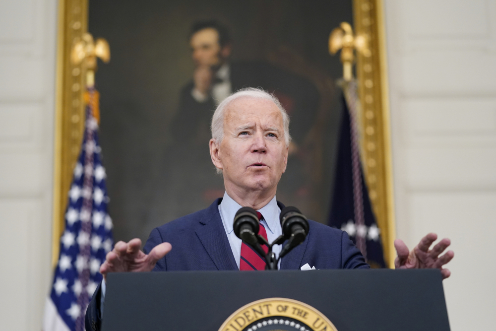 President Biden speaks about the shooting in Boulder, Colo., on Tuesday at the White House in Washington.