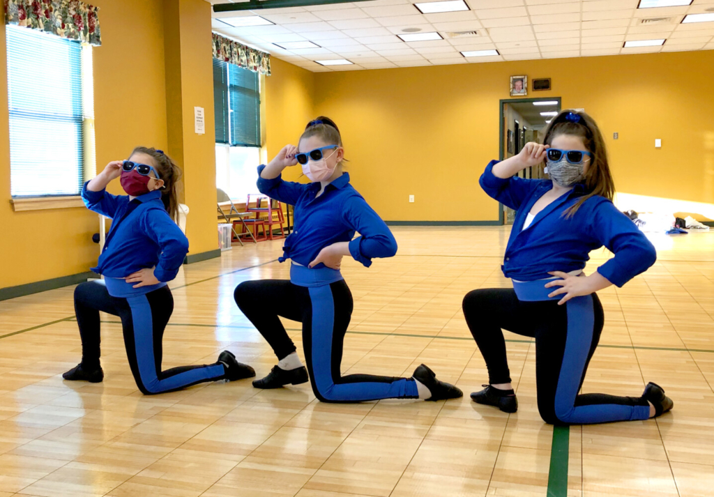 Lakeside Dance Academy Jazz 1 students from left are Piper Fargo, Abby Grant and Mya Gellman rehearsing their jazz dance.