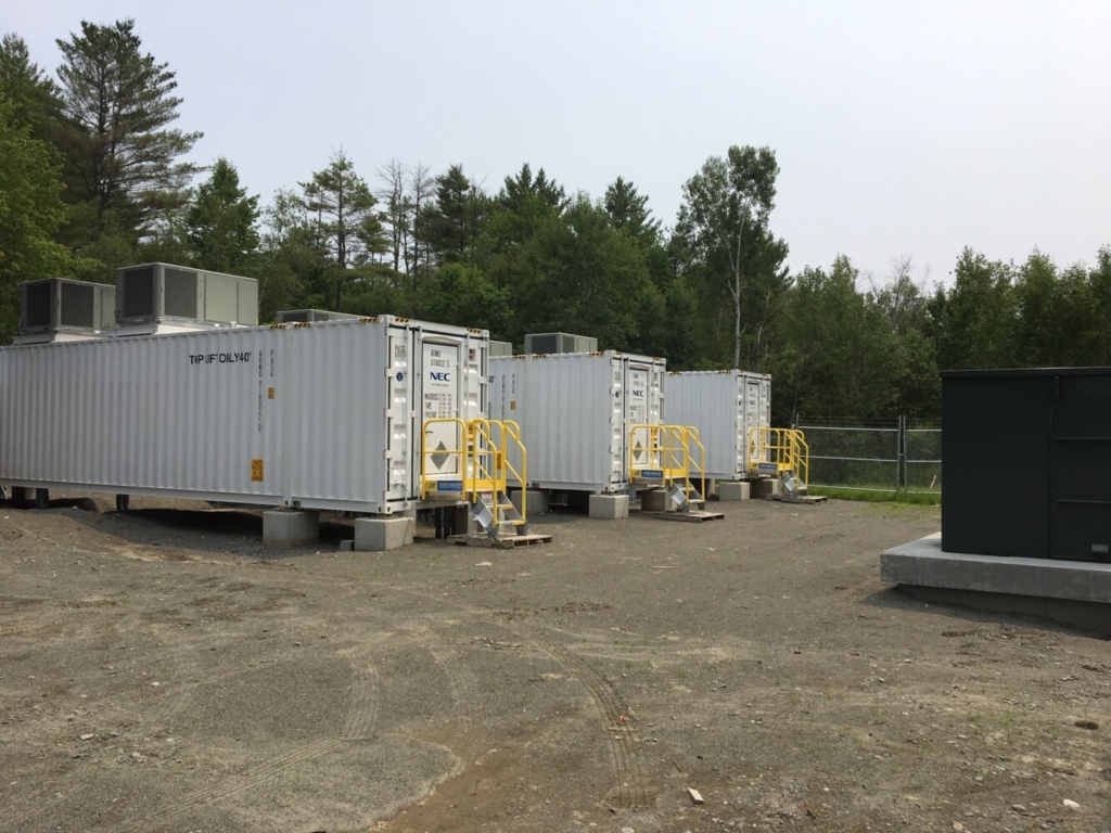 Inside each of three, 53-foot-long metal containers in Madison, 950 lithium-ion batteries are charged and discharged daily to help supply power, provide backup and help balance the operations of the region's electric grid. This 4.99-megawatt project, built in 2019 by New England Battery Storage, costs roughly $5 million. It's an example of the growing fleet of standalone battery plants being developed in Maine and elsewhere.