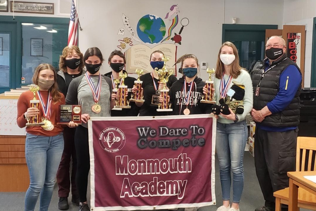Monmouth Academy Academic Decathlon 2021 team with coaches, from left, are  Rhayna Poulin, Coach Cathy Foyt, June Foyt, Ostin Hasenfus-Smith, Delaney Houston, Olivia Degen, Holly Hunt and Coach Scott Foyt.