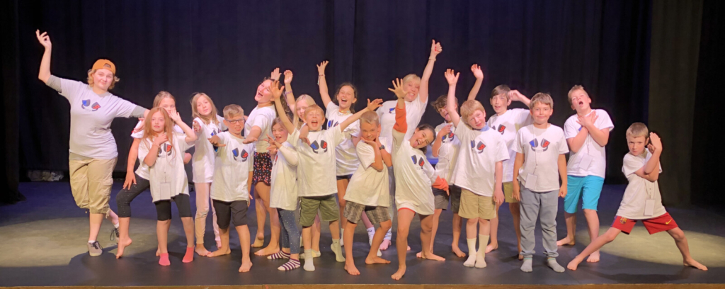 Kids from the 2019 Drama Camp held at the RFA Lakeside Theater in Rangeley. The RFA will offer two week-long day-camps this summer in drama for different ages.