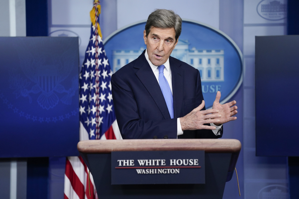 Special Presidential Envoy for Climate John Kerry speaks during a press briefing Jan. 27 at the White House in Washington.