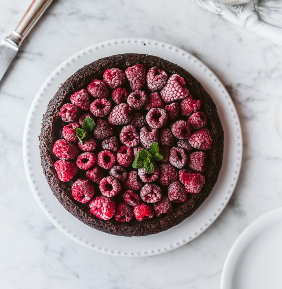 "Vegan Fudgy Flourless Chocolate Cake from ""Beyond Chopped Liver."""