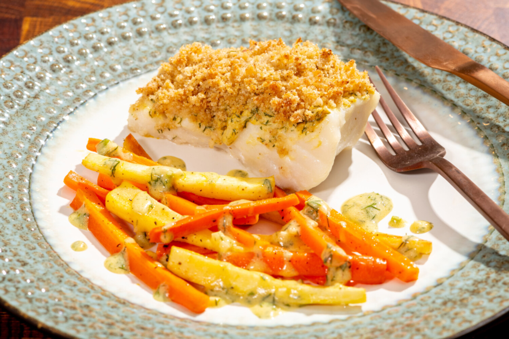 Horseradish-Crusted Cod With Carrots, Parsnips and Mustard-Dill Drizzle