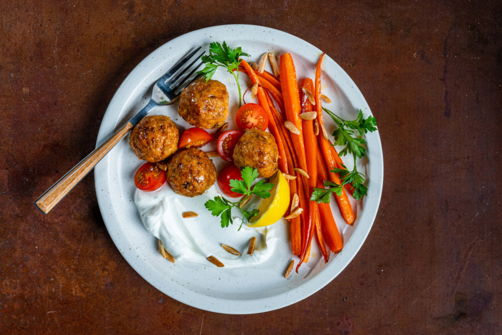 Chicken and Rice Meatballs With Roasted Carrots and Labne
