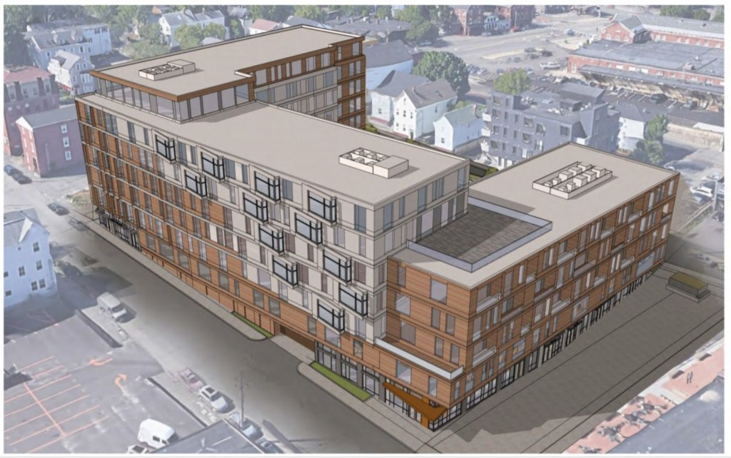 This proposed 171-unit apartment building on Hanover Street is the subject of a public hearing and possible vote by the Portland Planning Board Tuesday.