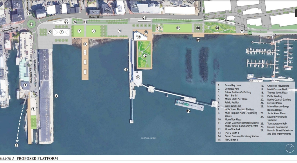 Plans to create a new Harbor Common on Portland's eastern waterfront include event lawns, plazas, a playground, native coastal gardens and a public pavilion. The plan also includes a traffic roundabout at the intersection of Franklin and Commercial streets.
