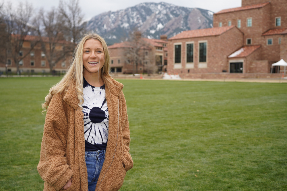 Sydney Kramer, a graduate student at the University of Colorado, poses for a photo Friday on the campus in Boulder, Colo. Kramer is typical of many new Colorado arrivals. The 23-year-old moved to the university town of Boulder in January to begin graduate studies in atmospheric and oceanic sciences. She could have stayed in Miami, a natural location for someone of her interests and where she finished her undergraduate studies. But Kramer was depressed by Florida's anti-science turn under Republican state control.
