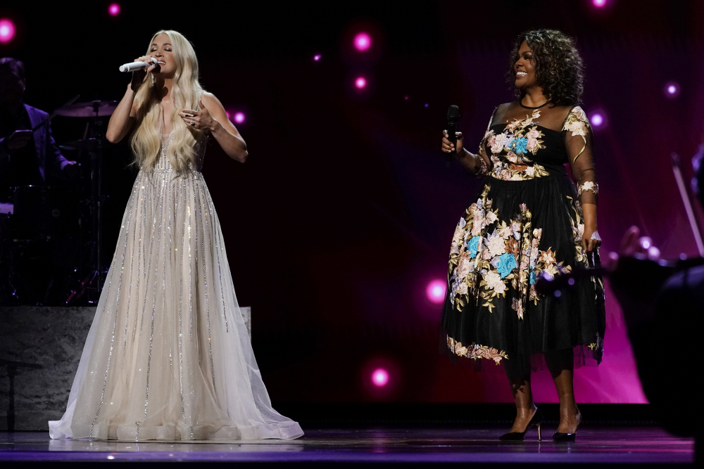 Carrie Underwood, left, and CeCe Winans perform at the 56th annual Academy of Country Music Awards on Saturday at the Grand Ole Opry in Nashville, Tenn.