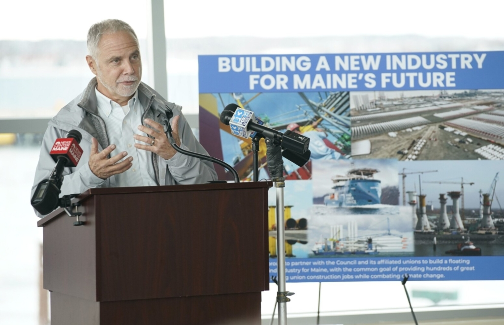 Chris Wissemann of New England Aqua Ventus speaks at a press conference in Portland on Wednesday.