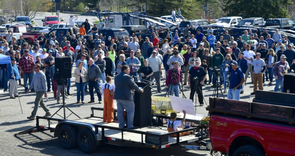 Billy Bob Faulkingham, R-Winter Harbor, speaks during a rally Wednesday at the Augusta Civic Center. Two planned offshore wind power projects opposed by the protesters would not be subject to a proposed moratorium on projects in Maine's state waters.