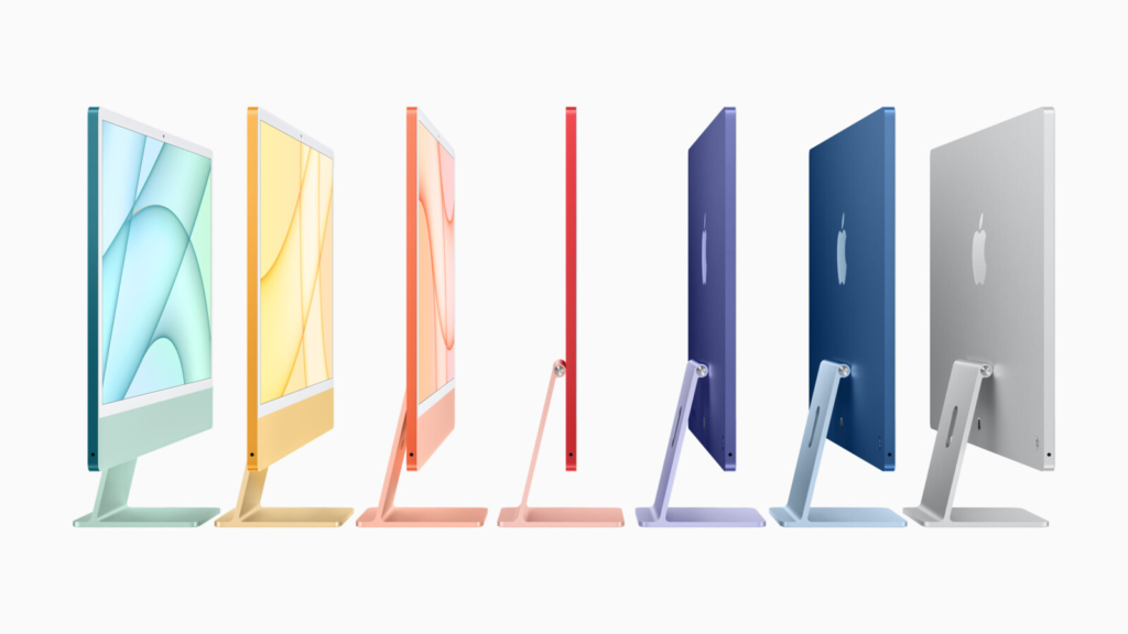 The new iMacs are available in a rainbow of seven colors, a nod to the early days of candy-colored iMacs first introduced by Apple co-founder Steve Jobs.