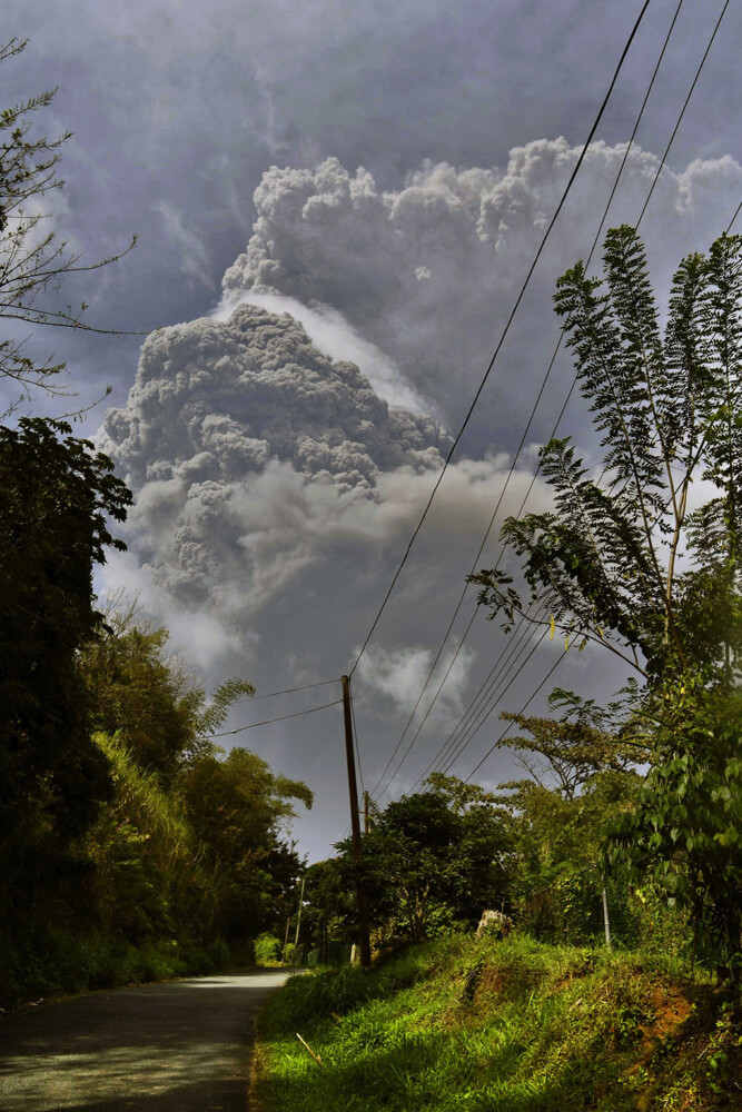 Plumes of ash rise from the La Soufriere volcano as it erupts on the eastern Caribbean island of St. Vincent on Friday.