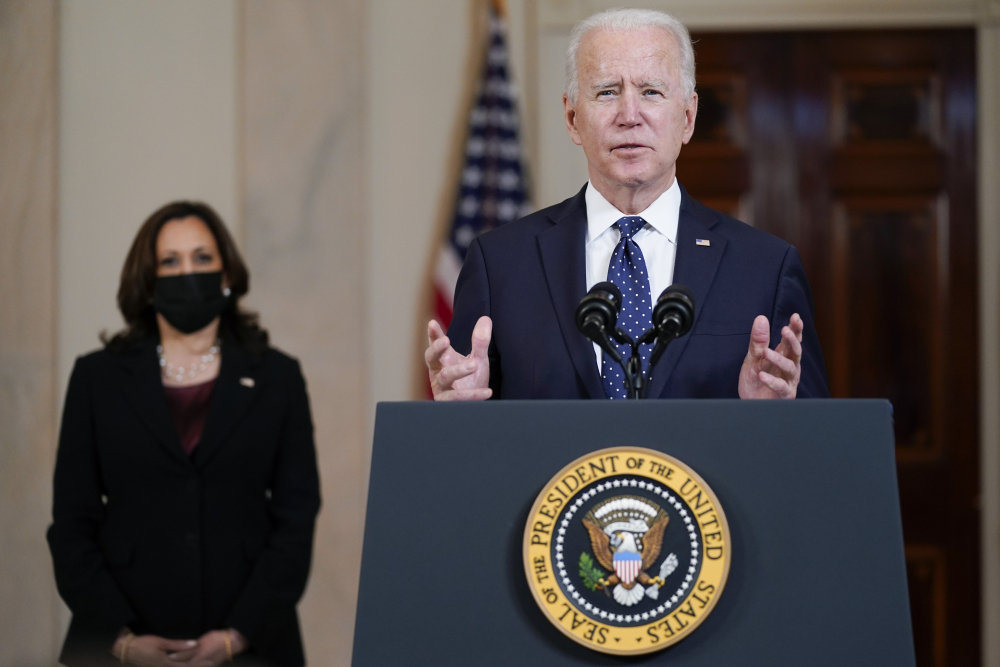 President Biden, accompanied by Vice President Kamala Harris, speaks Tuesday, at the White House in Washington after former Minneapolis police officer Derek Chauvin was convicted of murder and manslaughter in the death of George Floyd.