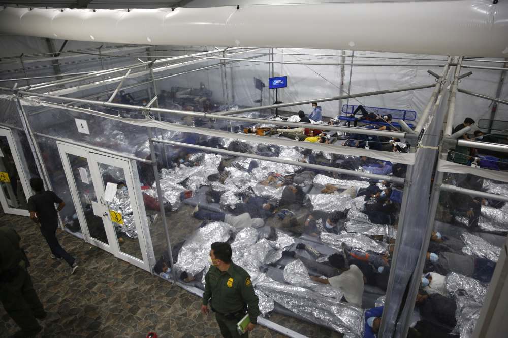Minors inside a pod at the Donna Department of Homeland Security holding facility, the main detention center for unaccompanied children in the Rio Grande Valley run by U.S. Customs and Border Protection (CBP), in Donna, Texas.