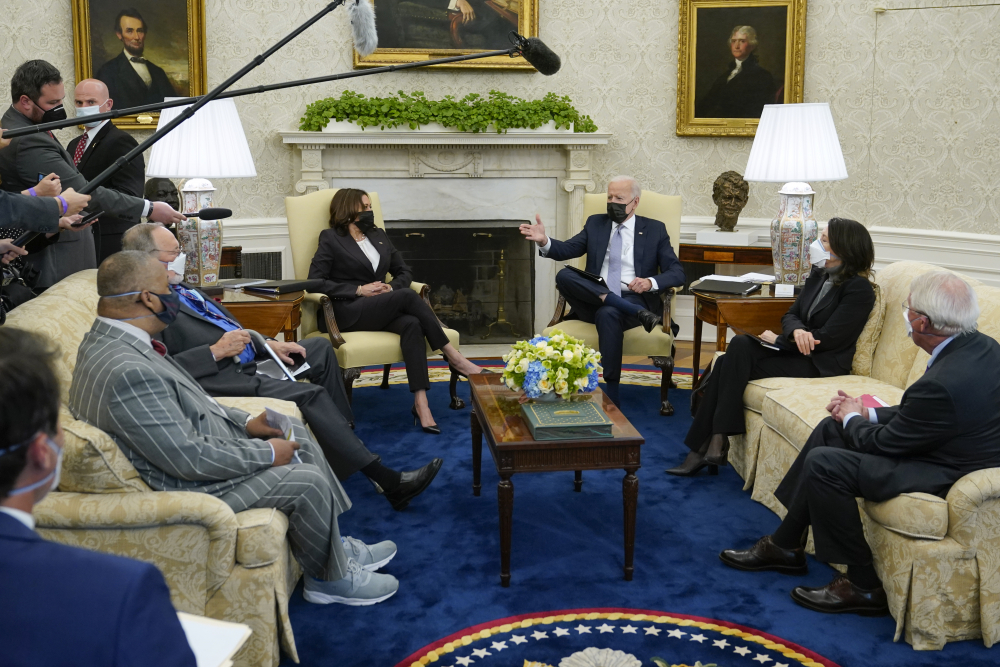 President Joe Biden and Vice President Kamala Harris meet with lawmakers to discuss the American Jobs Plan on Monday in the Oval Office. Most states received a letter grade on their infrastructure, though none got higher than a C.