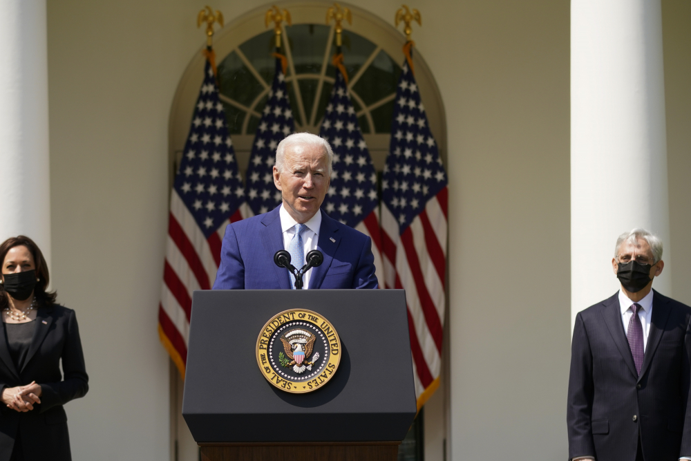 President Joe Biden, accompanied by Vice President Kamala Harris, and Attorney General Merrick Garland, speaks about gun violence prevention in the Rose Garden at the White House on Thursday.