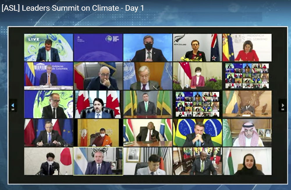 In this image from video, world leaders participate in the White House Climate Leaders Summit via Zoom on Thursday.