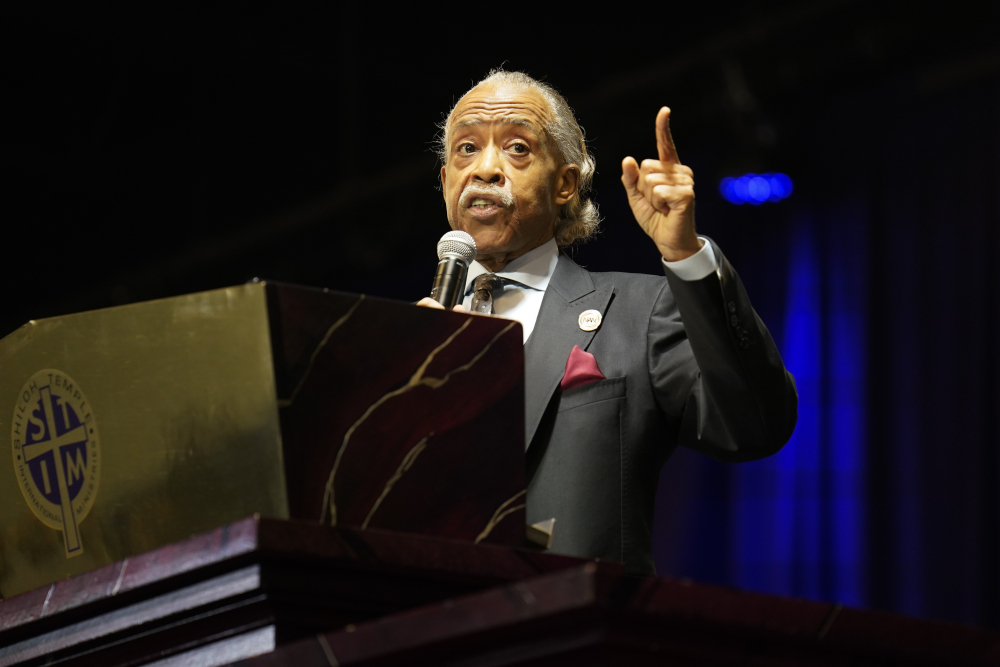 The Rev. Al Sharpton eulogizes Daunte Wright during funeral services at Shiloh Temple International Ministries in Minneapolis on Thursday. Wright, 20, was fatally shot by a Brooklyn Center, Minn., police officer during a traffic stop.