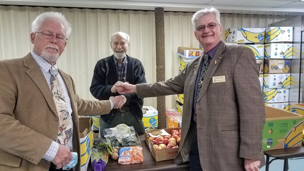 Dresden Masonic Lodge 103 made a donation to the Whitefield Area Food Pantry on April 2. From left are Junior Warden Worshipful Craig Rubner, Pantry Founding Member Earl Lemieux, and Secretary Right Worshipful Kevin Campbell.