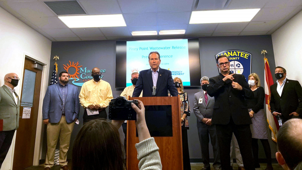 U.S. Rep. Vern Buchanan, R-Sarasota, addresses the media on Monday about the crisis at the former Piney Point phosphate plant, along with Manatee County officials.