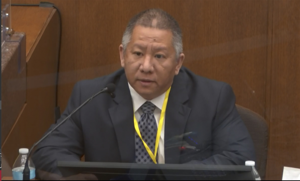 In this image from video, Minneapolis Police Crisis Intervention Coordinator Ker Yang testifies as Hennepin County Judge Peter Cahill presides Tuesday in the trial of former Minneapolis police Officer Derek Chauvin at the Hennepin County Courthouse in Minneapolis, Minn.