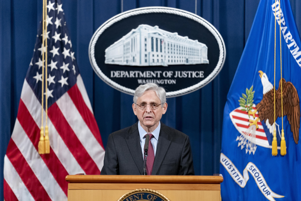 Attorney General Merrick Garland speaks about a jury's verdict in the case against former Minneapolis police Officer Derek Chauvin in the death of George Floyd, at the Department of Justice, on Wednesday.