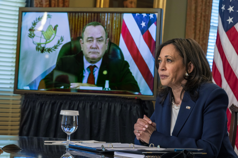 """Vice President Kamala Harrismeets virtually with Guatemala's President Alejandro Giammattei on Monday. She promised an increase in aid to countries in the region and efforts to better cooperate to """"manage migration in an effective, secure and humane manner."""""""