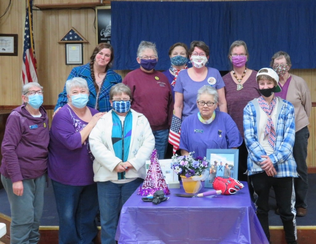 Members of the Madison American Legion Auxiliary front from left are Ann Cody, Irma Fluet, Betty Price, Merrilyn Vieira and Grace Rollins; and back from left, are Holly Kinney, Pauline Bell, Diane Pinkham, Harriet Bryant, Amy Washburn and Nancy Drew.