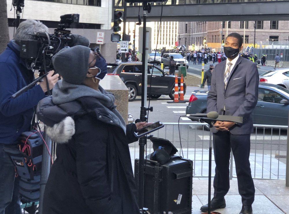MSNBC correspondent Shaquille Brewster, right, on location covering the the trial of former Minneapolis police Officer Derek Chauvin in Minneapolis on Wednesday.