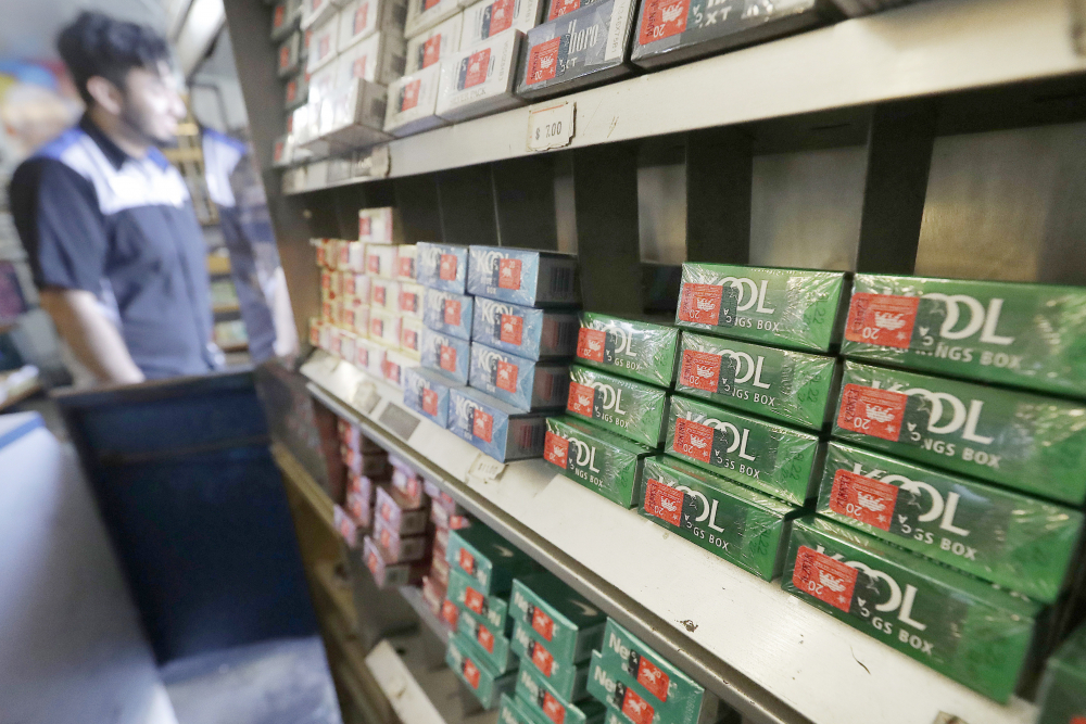 Packs of menthol cigarettes and other tobacco products at a store in San Francisco in May 2018.