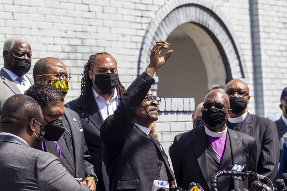 Rev. T. Anthony Spearman, president of the North Carolina NAACP, and other clergy urge state Attorney General Josh Stein to take over the investigation into the police shooting death of Andrew Brown Jr., during a news conference at the Mt. Lebanon AME Zion Church on Tuesday in Elizabeth City, N.C.
