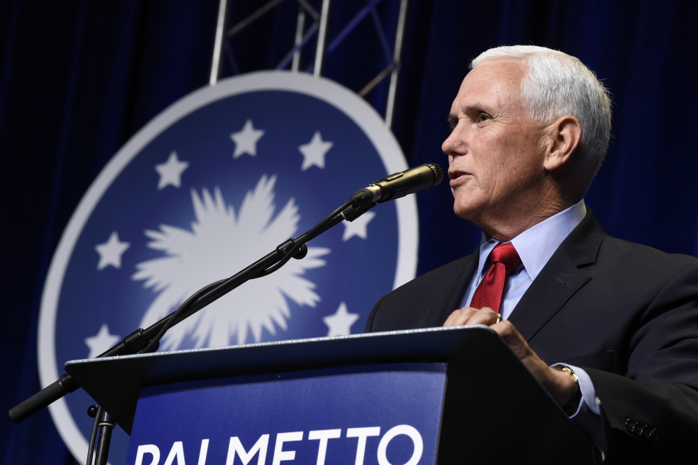In his first public speech since leaving office, former Vice President Mike Pence speaks at a dinner hosted by Palmetto Family on Thursday, April 29, in Columbia, S.C.