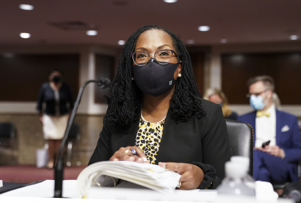 Ketanji Brown Jackson, nominated to be a U.S. Circuit Judge for the District of Columbia Circuit, prepares to testimony before a Senate Judiciary Committee hearing on pending judicial nominations, Wednesday, April 28 on Capitol Hill in Washington.