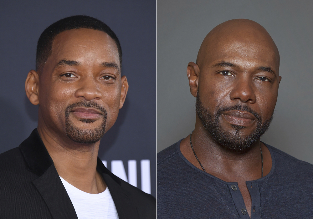 """Will Smith attends the premiere of """"Gemini Man"""" in Los Angeles on Oct. 6, 2019, left, and director Antoine Fuqua appears during a photo session in Los Angeles on July 12, 2015. Smith and director Fuqua have pulled production of their runaway slave drama """"Emancipation"""" from Georgia over the state's recently enacted law restricting voting access."""