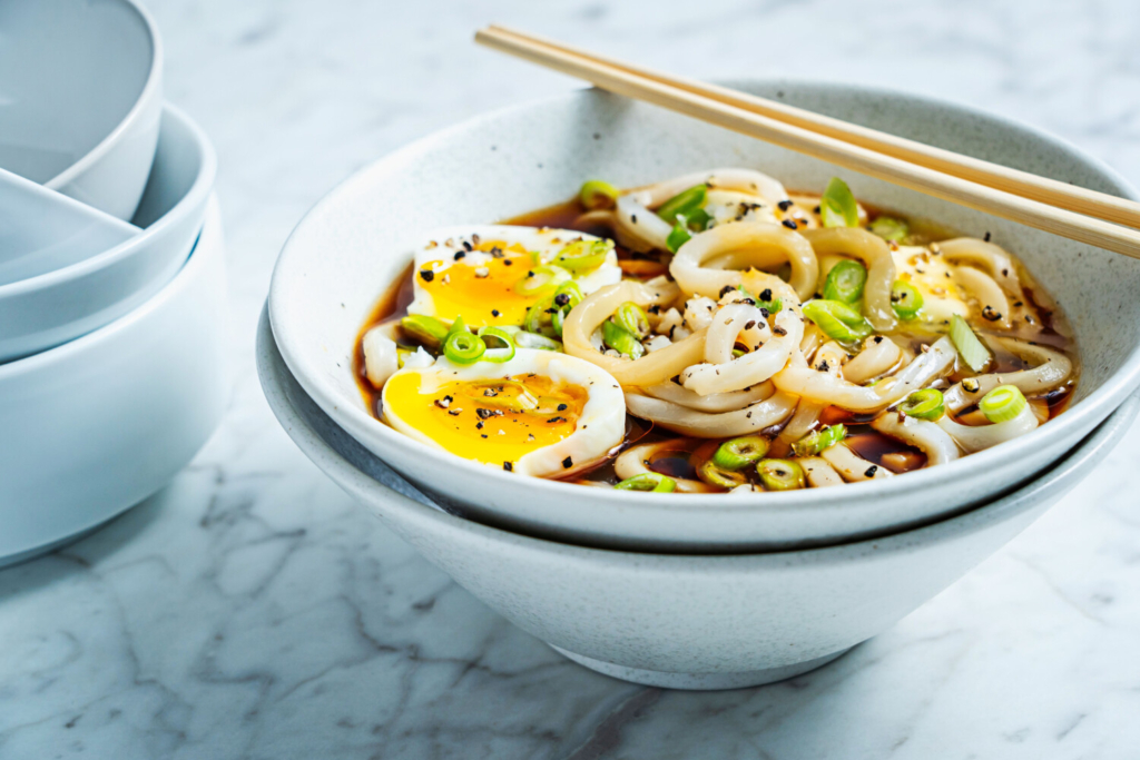 Udon Noodles with Soft-Boiled Egg, Hot Soy and Black Pepper