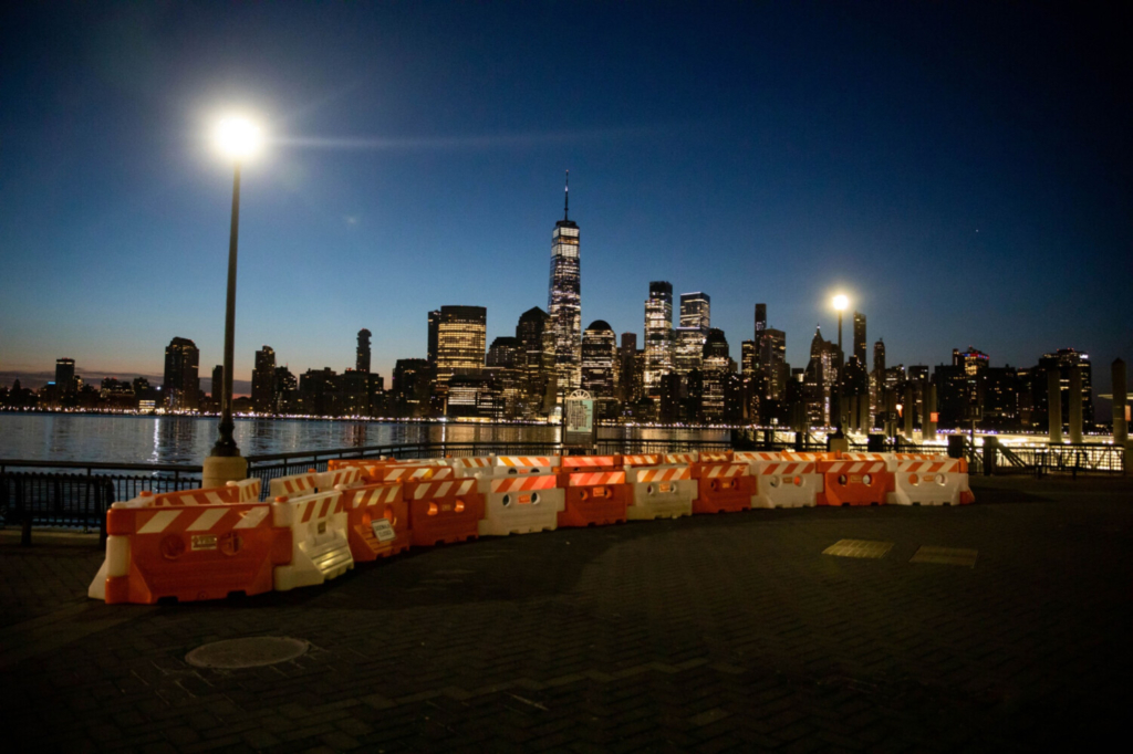 One World Trade Center and the lower Manhattan skyline along the waterfront in Jersey City, N.J., on April 5.