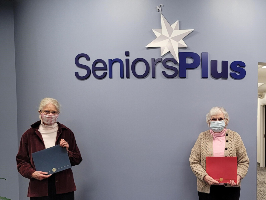 Sheila Sylvester, left,  and Kathleen Delehanty are the recipients of the 2021 Margaret Ross Award for volunteerism at SeniorsPlus, Western Maine's designated Area Agency on Aging.