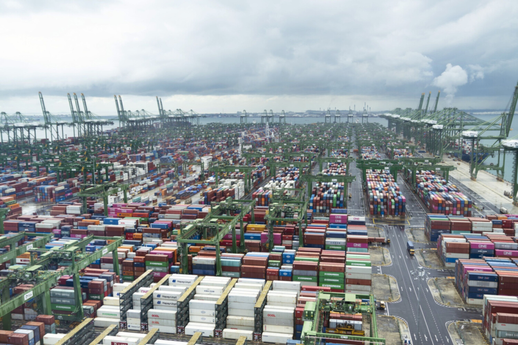 Containers are stacked near gantry cranes at the Port of Singapore on March 24, 2021.