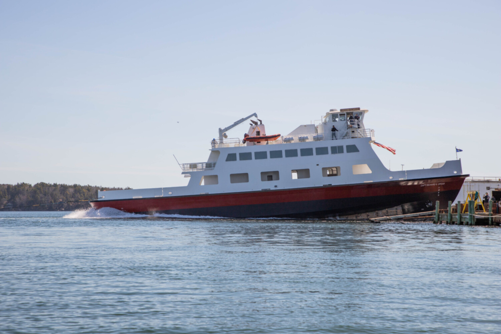 The Capt. Richard G. Spear ferry is launched at the Washburn & Doughty shipyard in East Boothbay.