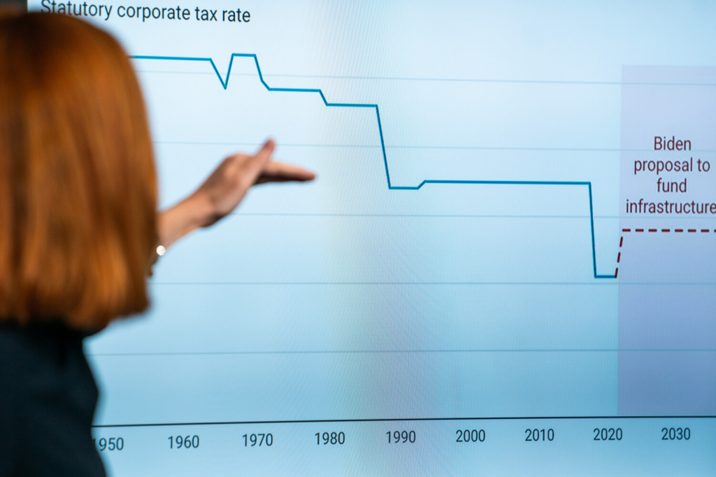 White House press secretary Jen Psaki points to a corporate tax rate chart on Thursday during a news briefing. Last year, 55 of the nation's largest corporations paid no federal income tax on more than $40 billion in profits, research shows.