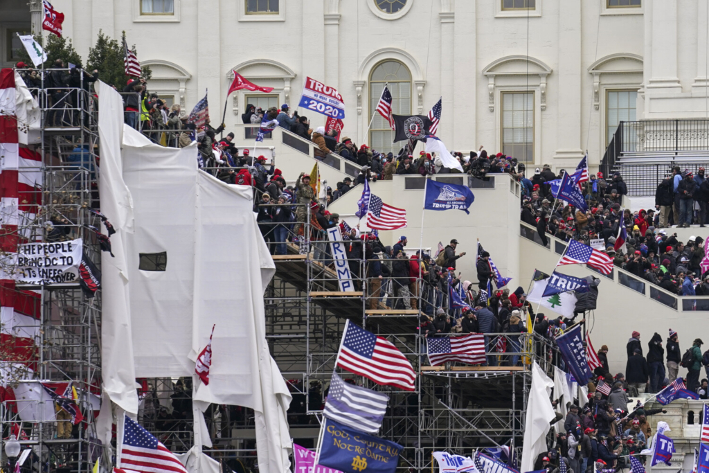 Insurrectionists loyal to President Donald Trump riot outside the Capitol in Washington on Jan. 6.
