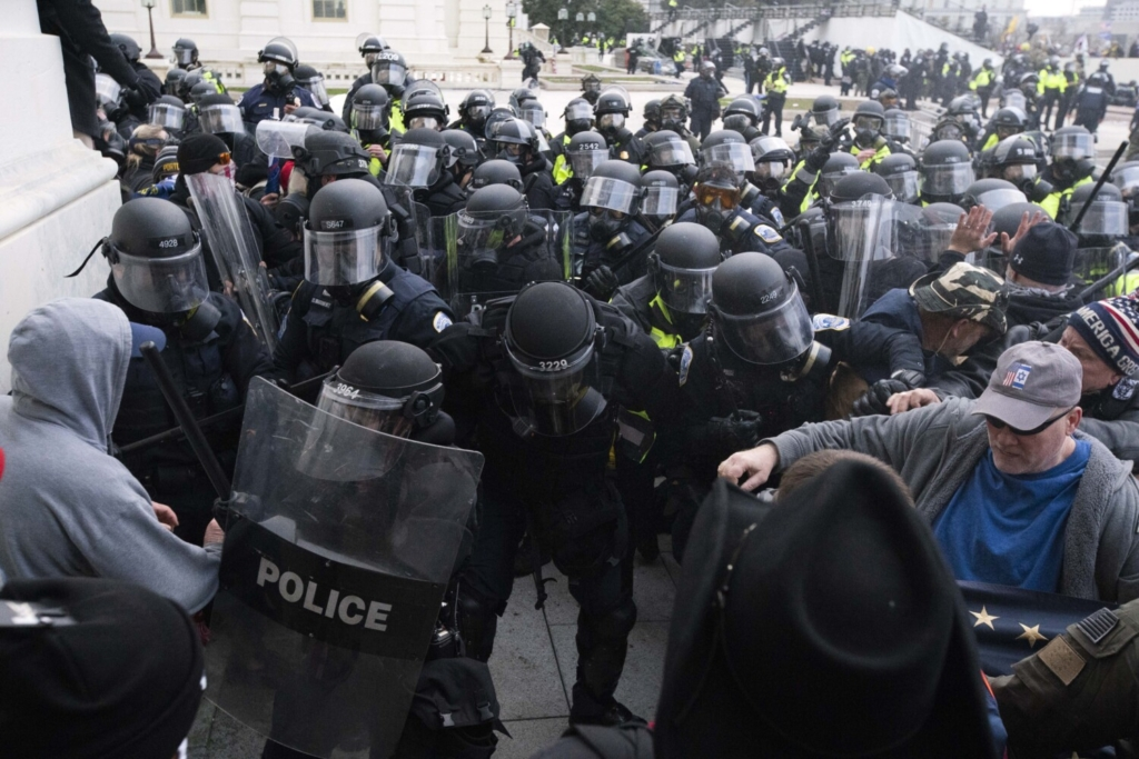 U.S. Capitol Police push back rioters on Jan. 6. Capitol Police Inspector General Michael Bolton has recommended  Capitol Police create a new stand-alone division that would gather intelligence about threats.