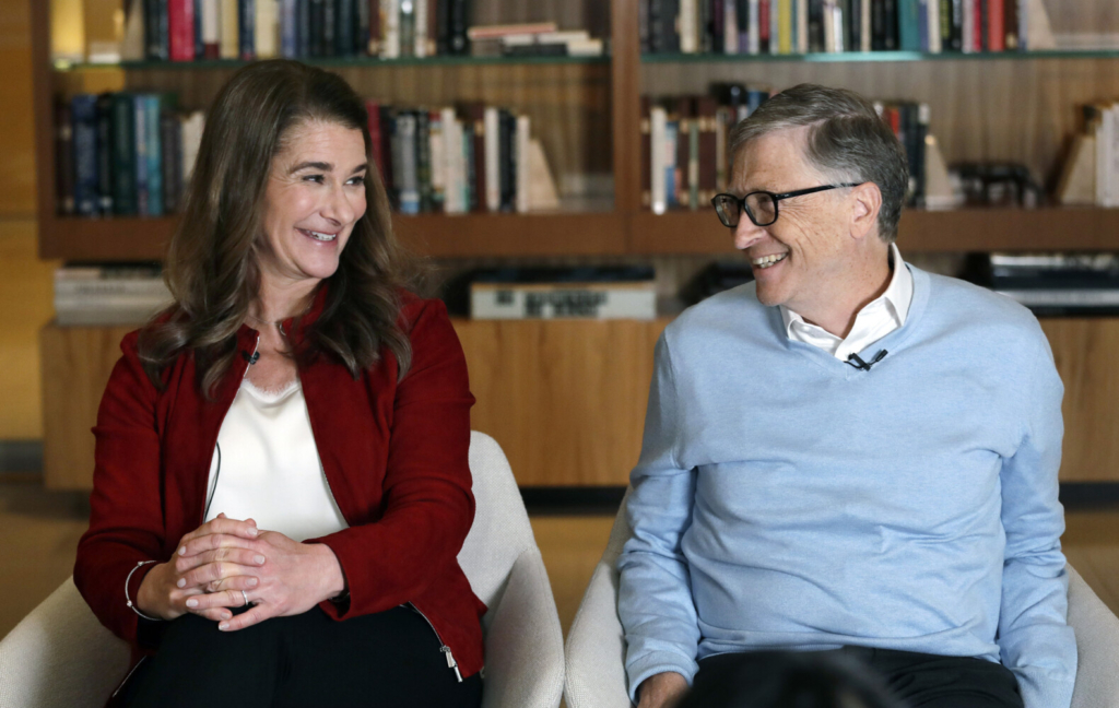 Bill and Melinda Gates are shown during an interview in Kirkland, Wash., in 2019. The couple announced Monday that they are divorcing.