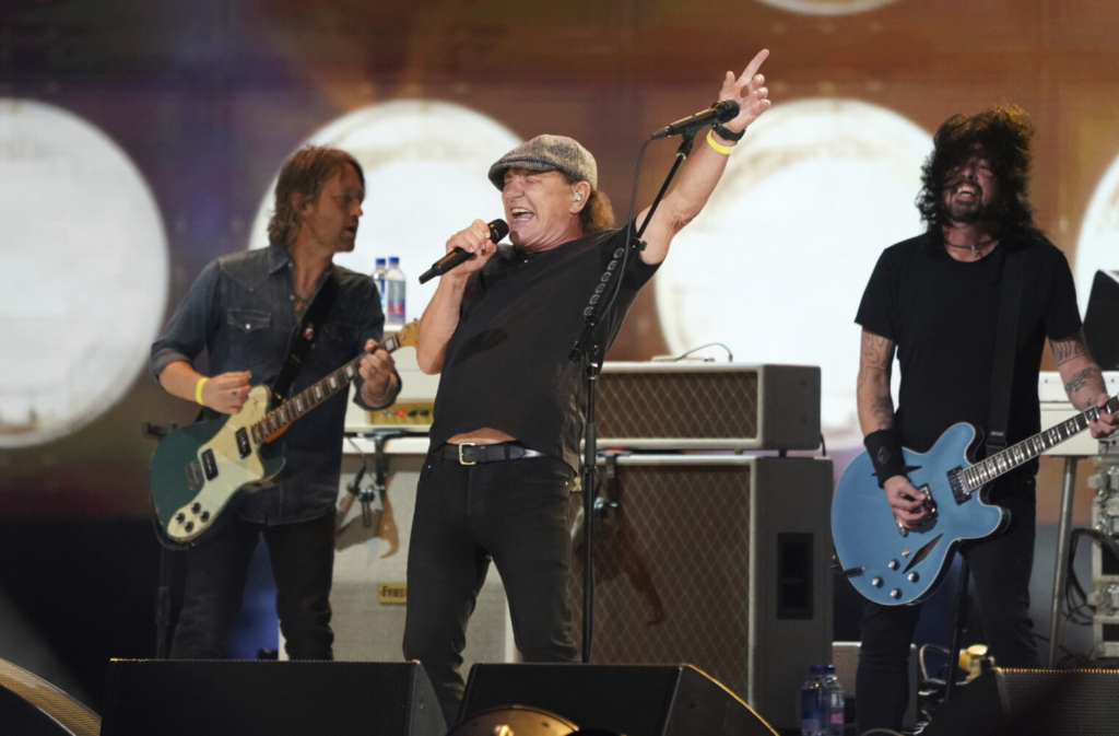 """Brian Johnson of AC/DC performs with the Foo Fighters at """"Vax Live: The Concert to Reunite the World"""" on May 2 at SoFi Stadium in Inglewood, Calif. The concert aired Sunday."""