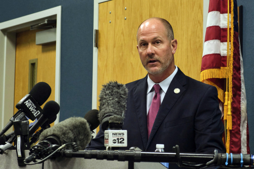 Pasquotank County District Attorney Andrew Womble answers questions from reporters after announcing he will not charge deputies in the April 21 fatal shooting of Andrew Brown Jr. during a news conference on Tuesday at the Pasquotank County Public Safety building in Elizabeth City, N.C.