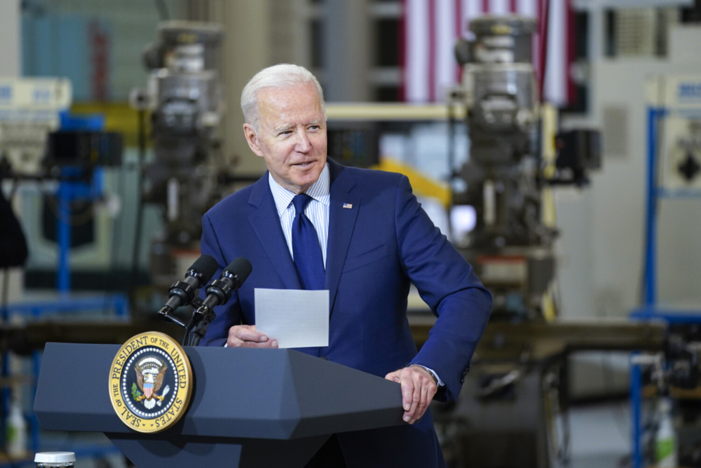 President Biden speaks at the Cuyahoga Community College Metropolitan Campus on Thursday in Cleveland.