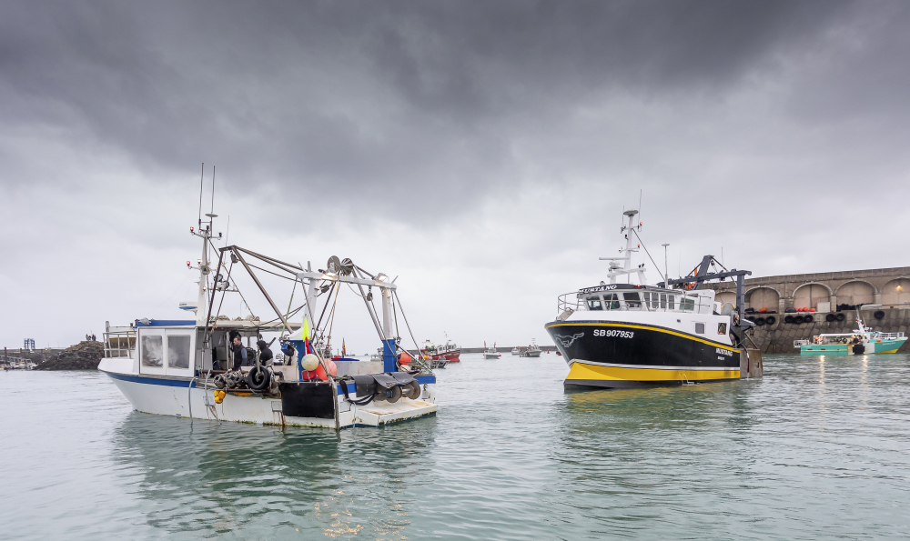 French fishermen block the port of St. Helier in Jersey on Thursday.