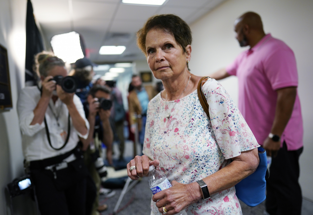 Gladys Sicknick, mother of the late Capitol Police officer Brian Sicknick, arrives at the office of Sen. Ron Johnson, R-Wisc., at the Capitol in Washington on Thursday.
